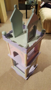 Bookcase for child's room swivel base solid wood pastel colors