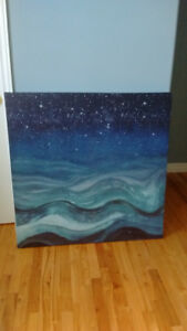 Wall Art Painting (Ocean Waves Star Lit Night)