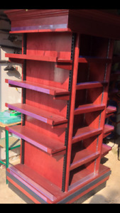Solid wood merchandise display unit