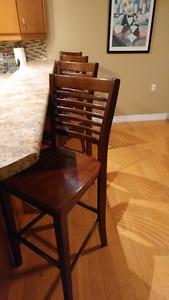 5 Bar high wood chairs