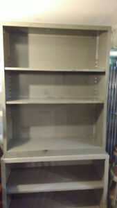 VINTAGE INDUSTRIAL METAL SHELVING UNITS / BOOK SHELF SHELVES
