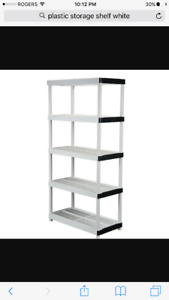 Plastic Storage Shelves $25ea 5 shelf/ $20 ea 4 shelf
