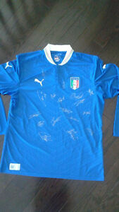Italy national team autographed soccer jersey Buffon and more