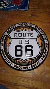 Route 66 Half Globe Type Metal Sign