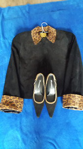 Women's Black Shoes and Suede Jacket