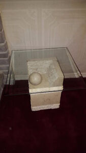 Unique stone and glass coffee/ side table balanced by a ball