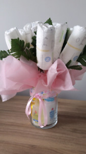 Baby shower diaper bouquet - bouquet de couche pour shower