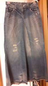 Reduced!  It denim  long distressed skirt with raw hem-size 28