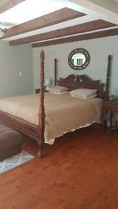 Antique 4 post Bed with mirror, night tables and ottoman