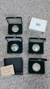 Silver Minted '88 WINTER OLYMPIC Coins (4)