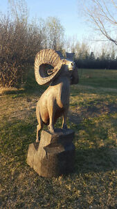 Rare, hand-carved, wooden Ram sculpture