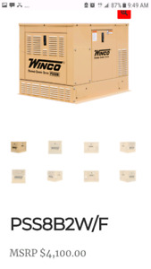 Winco 8kw standby generator, less then 5 hours on it