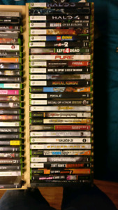Xbox 360 + 2 controllers + about 55 games.