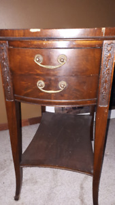 Antique End Table with 2 Drawers