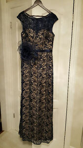 Navy & Nude Lace Evening Gown w Bonus Fascinator/Tulle Wrap