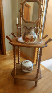Antique stand with mirror