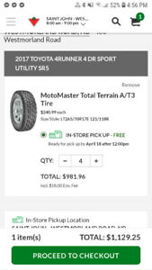 265/70R17 set of 4 barely used tires