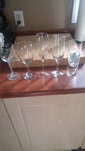 Wine glasses, various sizes