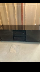 TV stand, 6 compartments, black and glass