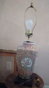 """Old Hand Painted Porcelain Vase Lamp, 28"""" tall"""
