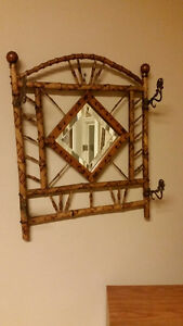 Antique Bamboo Hall Mirror Hat Rack Coat Hook