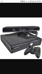 Xbox 360 slim with kinect one controller and a bunch of games