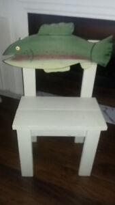 one of a kind ontario made wooden fish chair