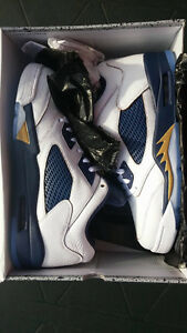 AIR JORDAN V 5 SIZE 12 DUNK FROM ABOVE WHITE NAVY GOLD DS
