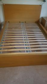 Ikea oak malm double bed