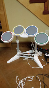 WII drum set with 3 guitars and microphone