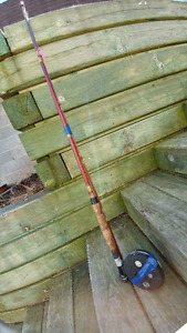 9' Vintage Cane Rod and Center Pin / Fly Reel