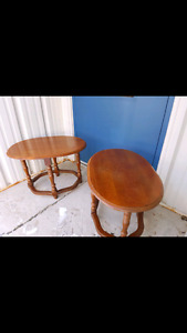 2 Solid wood Brown side tables