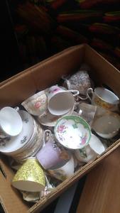 Large Lot of Teacups, Teacup Candles and Bird Feeders