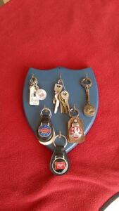 SELECTION OF KEYS AND FOBS WITH KEY HANGER VINTAGE