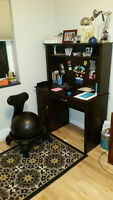 desk and ball chair
