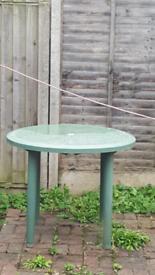 PATIO TABLE: GREEN PATIO TABLE