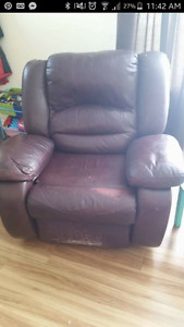 leather reclining couch and matching reclining chair