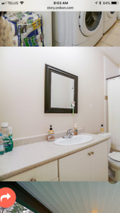 2 bathroom vanities including sinks, faucets and mirrors
