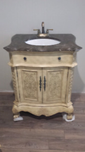Gorgeous Marble Top Vanity with Solid Brass Tap Set