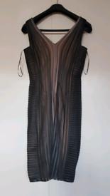 Phase Eight ocassion black/ beige gray nude mesh stripe dress UK 12