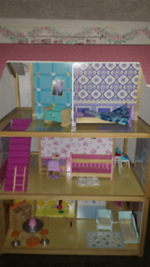 Double doll house, furniture, dolls, car, scooter, accessories