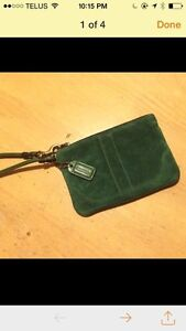 Coach mini purse green suede