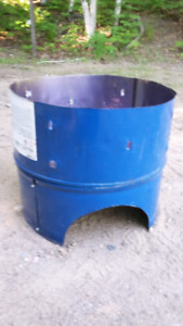 One-third burn barrel with stand.