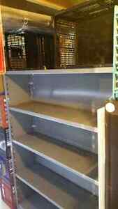 Industrial metal and wood shelving adjustable