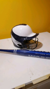 Ball helmet and bat