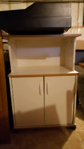 Microwave and Kitchen Cart