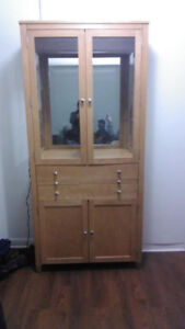 Solid Maple glass door lighted cabinet