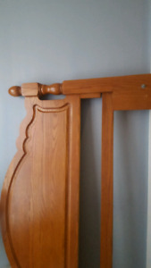 Queen solid wood headboard and metal bed frame