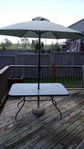 Patio Table with umbrella and base