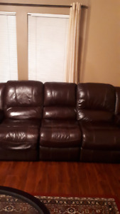 leather couch and wood ,glass coffee table for sale 175.00 obo